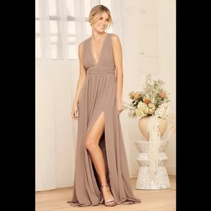 Lulus Heavenly Hues Taupe Maxi V-Neck Dress